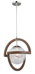 "Buy P0112 Vaxcel Mondial 17-3/4"" Pendant Wood Polished Nickel from LightingOriginals.ca"