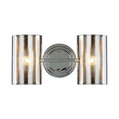 B321-2SM-CM-SM 2-Light Wall Sconce with Metal/Smoked Glass Cubes
