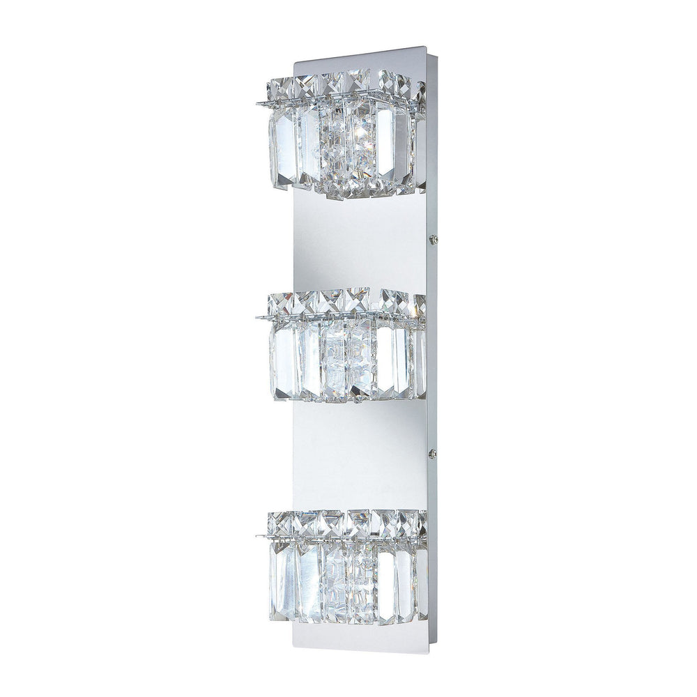 BV1103-0-15 Alico Crown 3 Lamp Vertical Clear Crystal Glass / Chrome