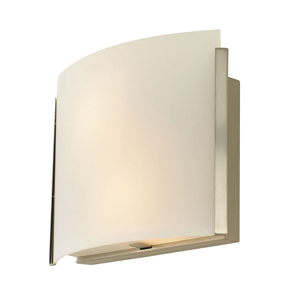 BV331-10-16M Alico Pannelli Arc White Opal Glass Sconce With Arc Top Satin Nickel Finish