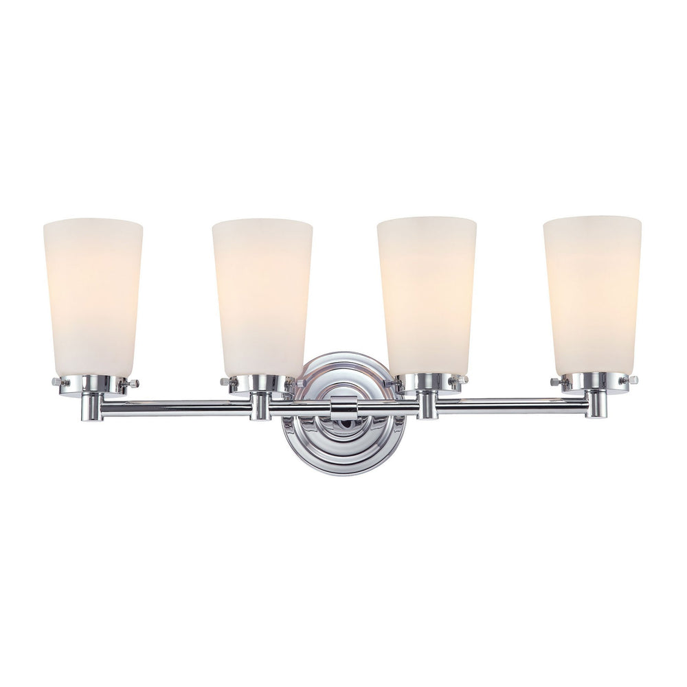 BV7T4-10-15 Alico Madison 4 Light Vanity White Opal Glass / Chrome Finish