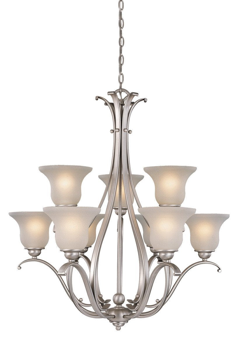 CH35409BN Vaxcel Monrovia 9L Chandelier Brushed Nickel