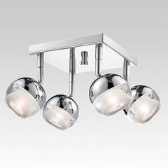 CK340-4-CM 4-Light Contemporary Chrome Square Track Ceiling Fixture
