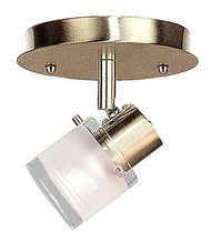 CK77-1-AB Single Light Antique Brass Track Halogen Ceiling Fixture with Clear/Frosted Glass Shade