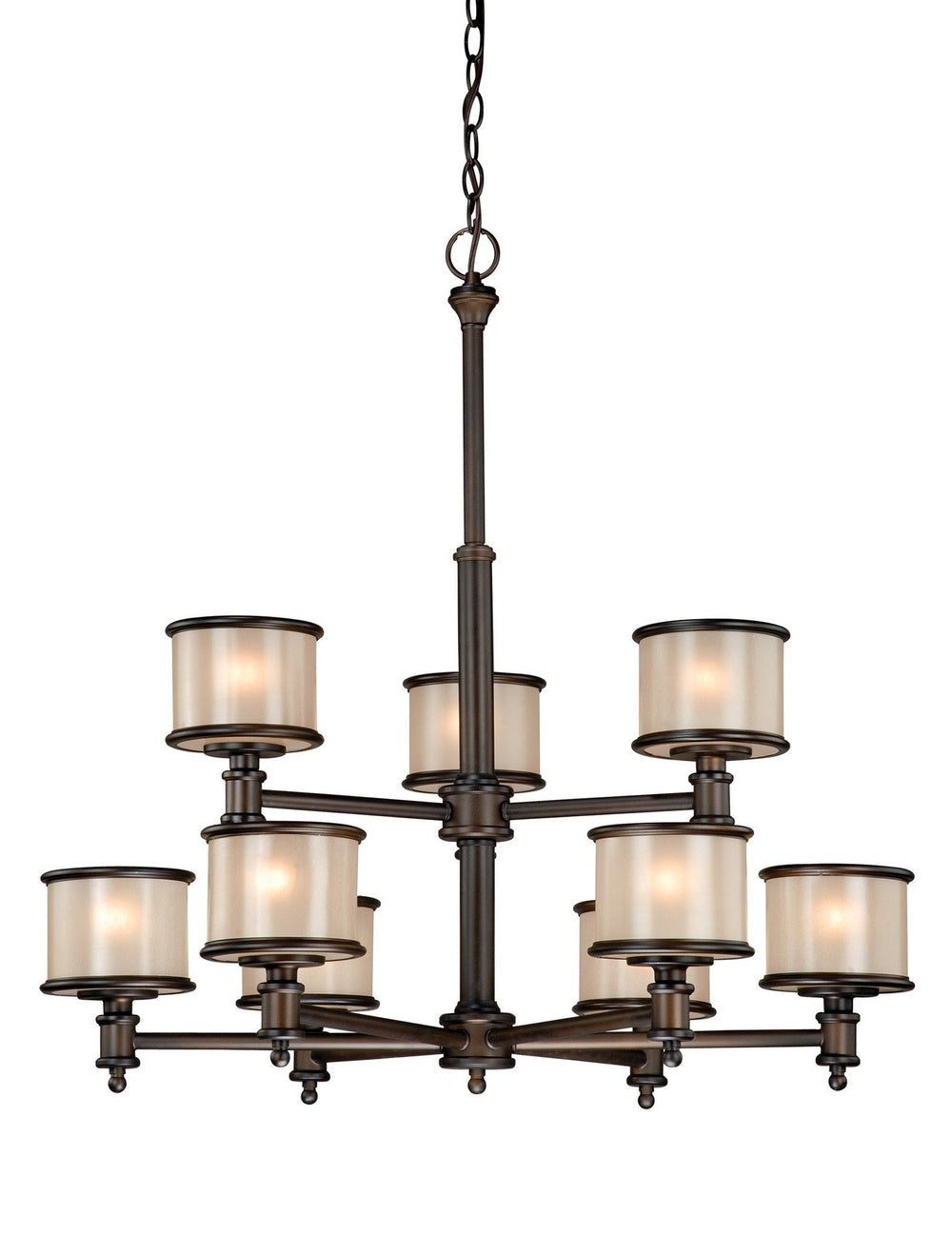 CR-CHU009NB Vaxcel Carlisle 9L Chandelier Noble Bronze
