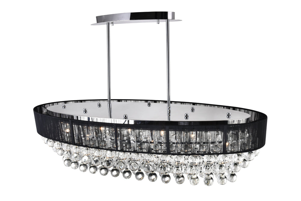 CWI Lighting Atlantic 10 Light Drum Shade Chandelier With Chrome Model: 5422P36C-O (BLACK)