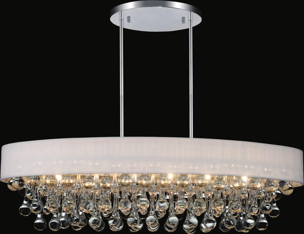 CWI Lighting Atlantic 10 Light Drum Shade Chandelier With Chrome Model: 5422P36C-O (WHITE)