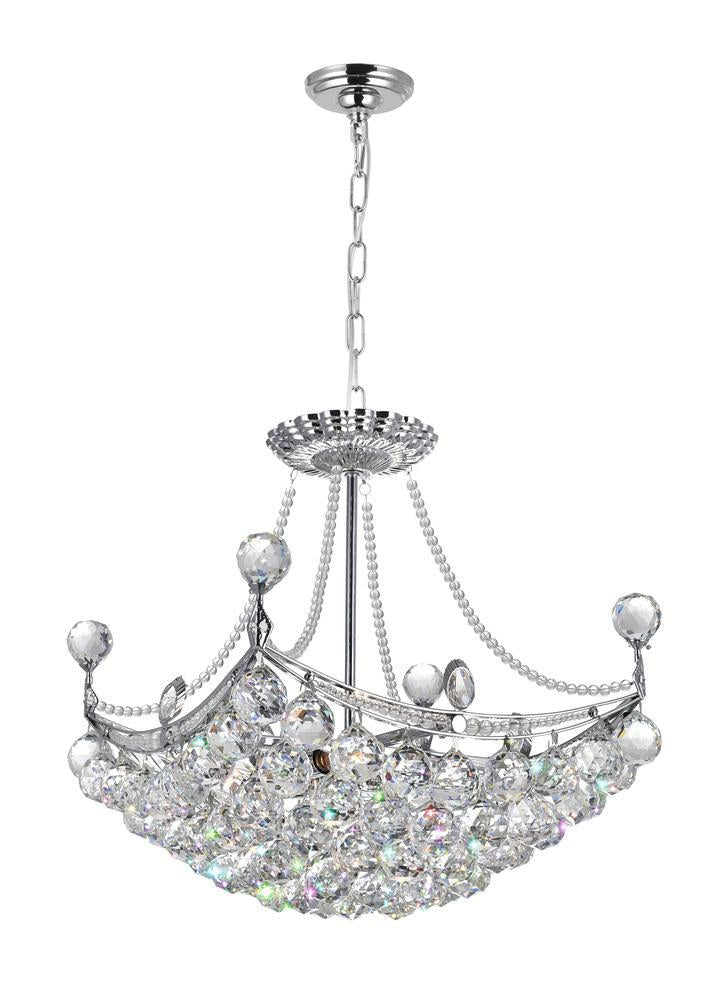 CWI Lighting Jasmine 4 Light Down Chandelier With Chrome Finish Model: 8041P16C-S
