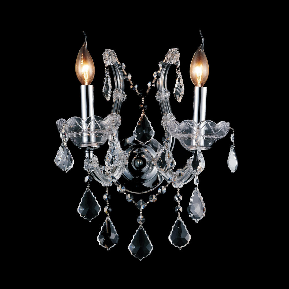 CWI Lighting Maria Theresa 2 Light Wall Sconce With Chrome Finish Model: 8397W12C-2(CLEAR)