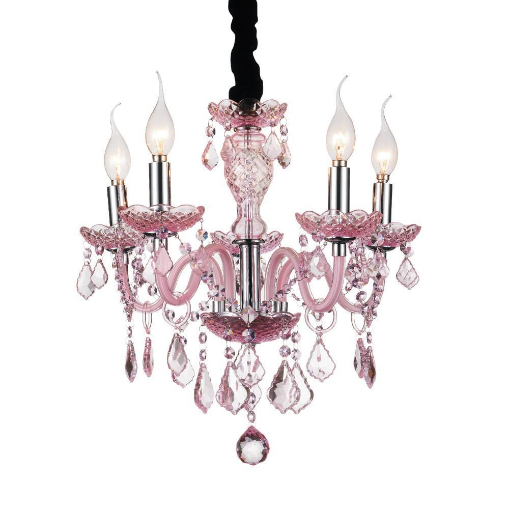 CWI Lighting Princeton 5 Light Up Chandelier With Chrome Finish Model: 8268P18C-5 (PINK)