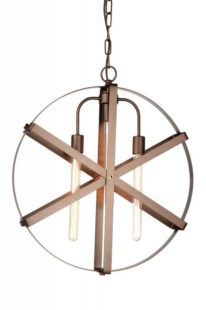 CWI Lighting Tessa 3 Light Down Pendant With Brown Finish Model: 9715P23-3-182