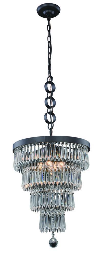 Elegant Lighting Bastille 4 Light Pendant Model: 1220D15MB/RC