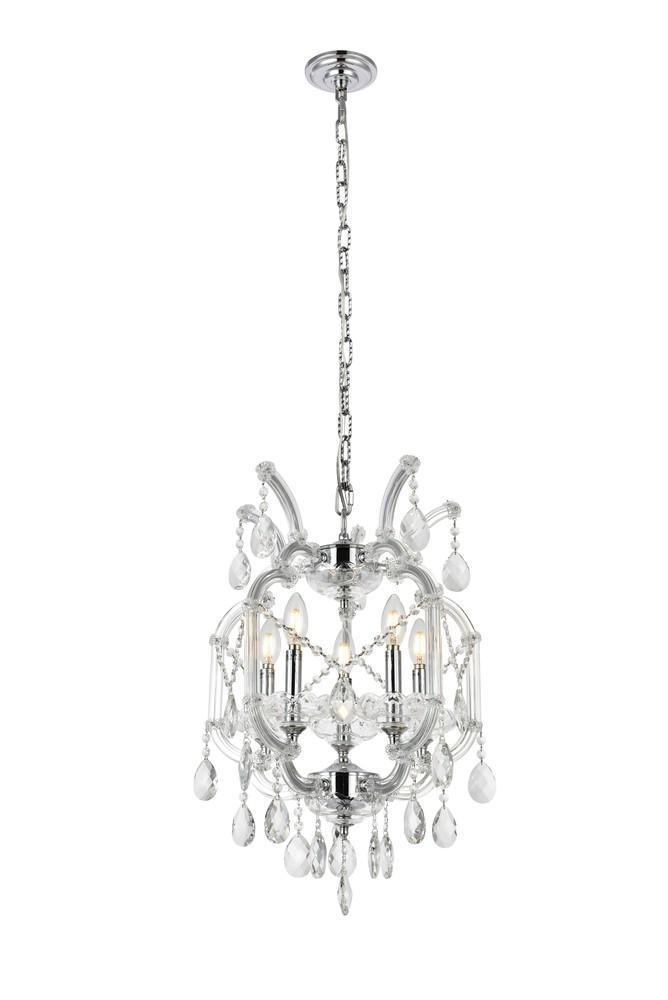 Elegant Lighting Maria Theresa 5 Light Pendant Model: 2800D15C/SS