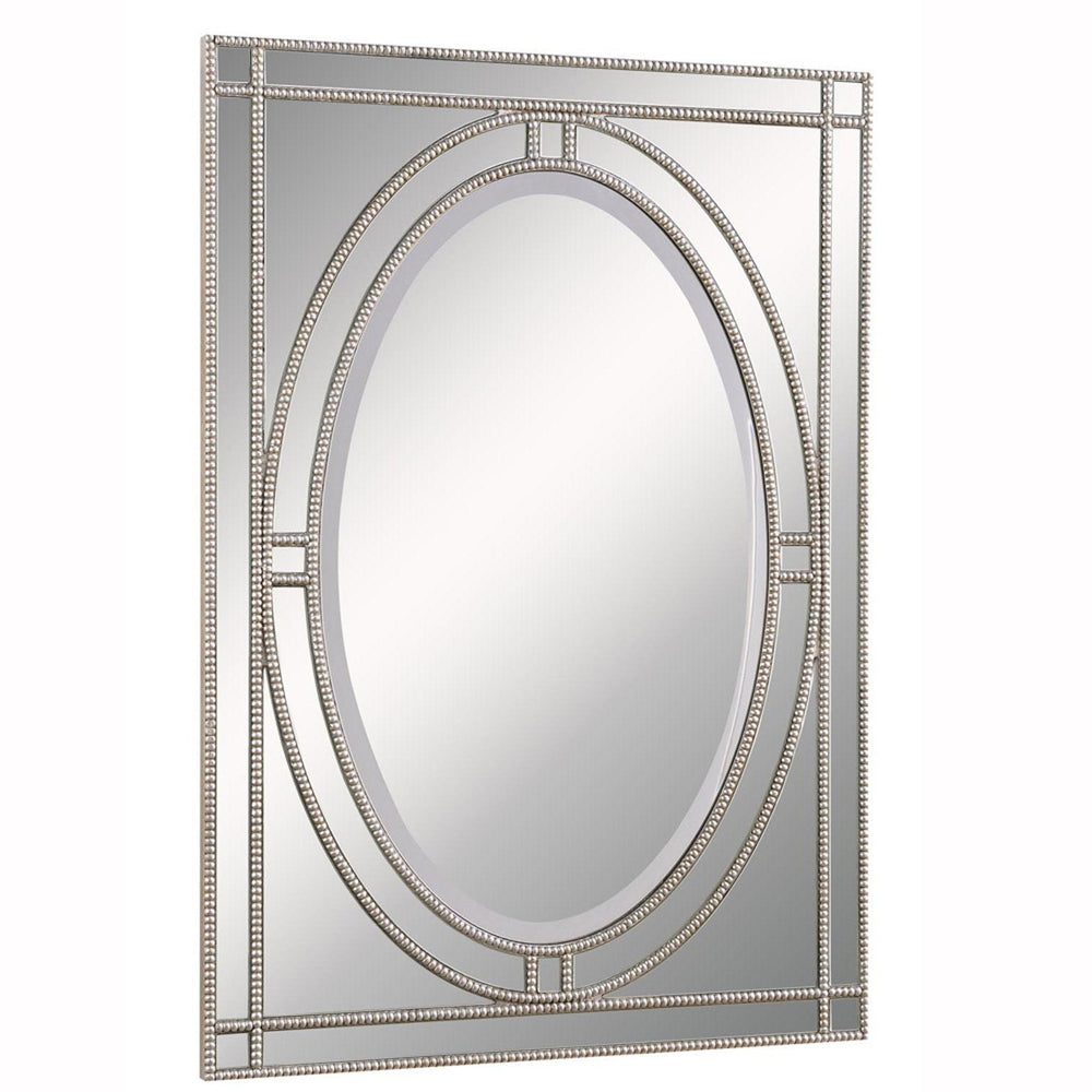 Elegant Lighting MR-3327 Antique 42'' High Clear mirror in Silver &Clear Mirror