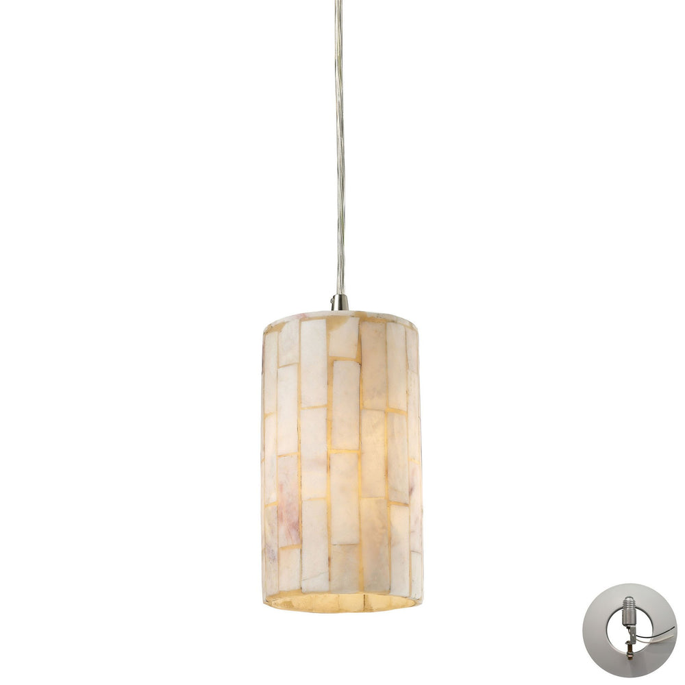 Elk 10147/1-LA Coletta 1 Light Pendant In Satin Nickel & Genuine Stone - Includes Recessed Lighting Kit
