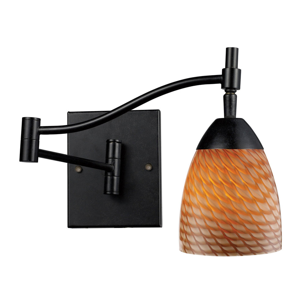 Elk 10151/1DR-C Celina 1 Light Swingarm Sconce In Dark Rust & Cocoa Glass