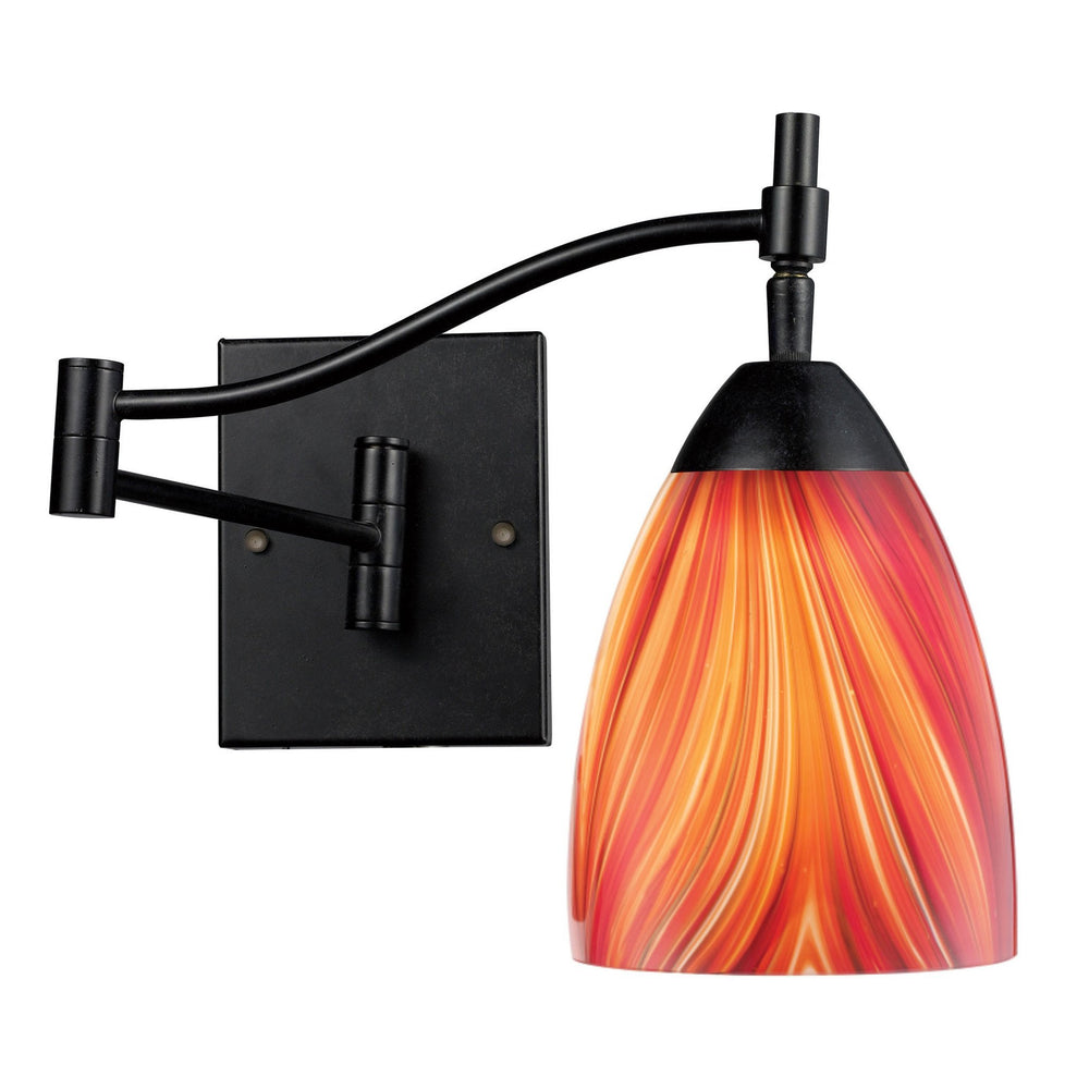 Elk 10151/1DR-M Celina 1 Light Swingarm Sconce In Dark Rust & Multi Glass