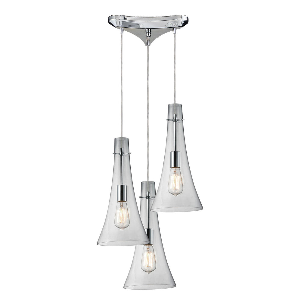 Elk 60055-3 Menlow Park 3 Light Pendant In Polished Chrome