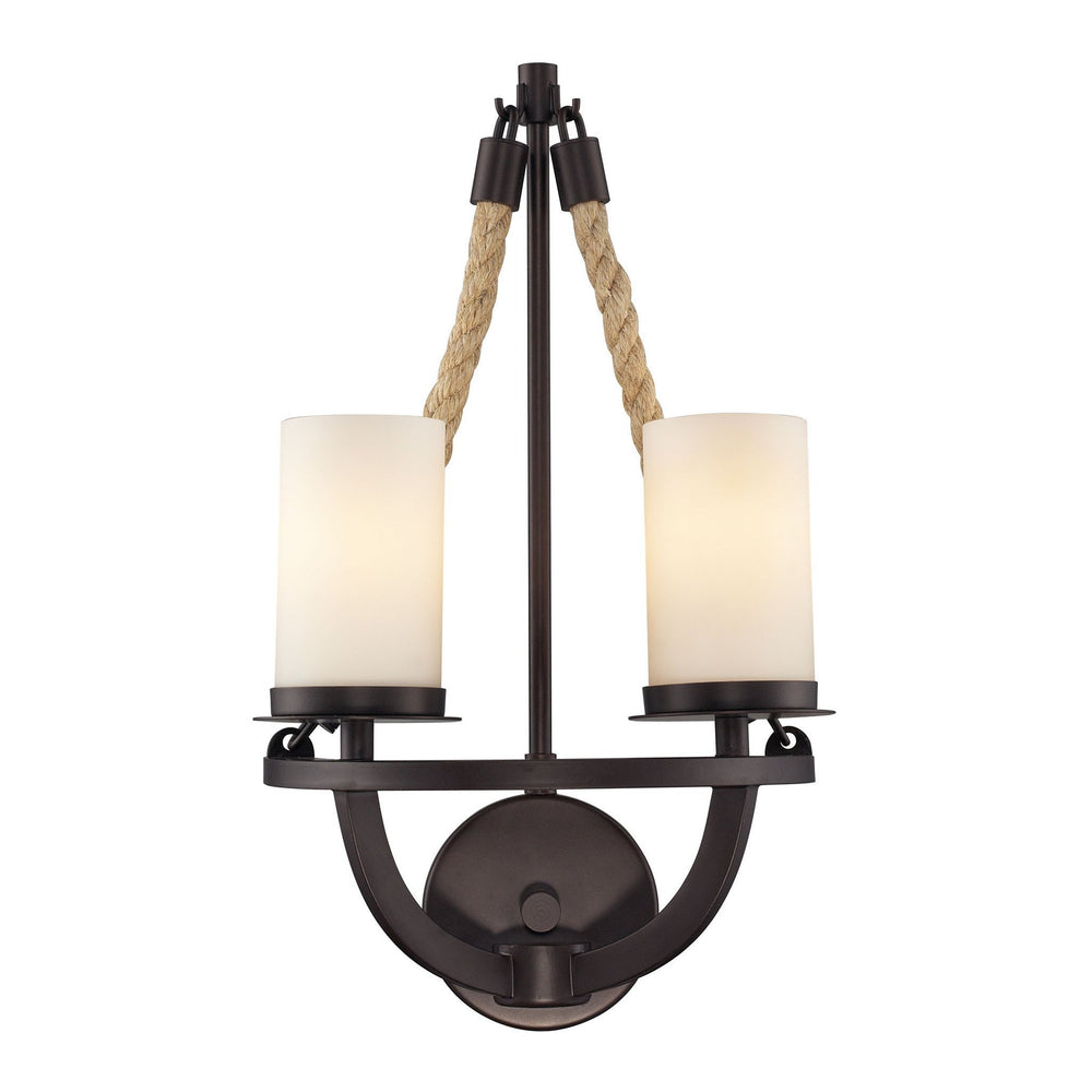 Elk 63040-2 Natural Rope 2 Light Wall Sconce In Aged Bronze & White Glass