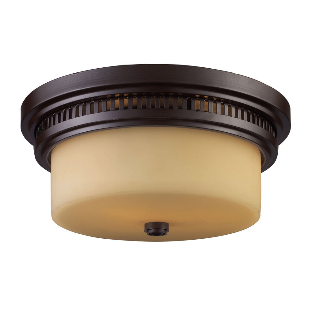 Elk 66131-2 Chadwick 2 Light Flushmount In Oiled Bronze & White Glass