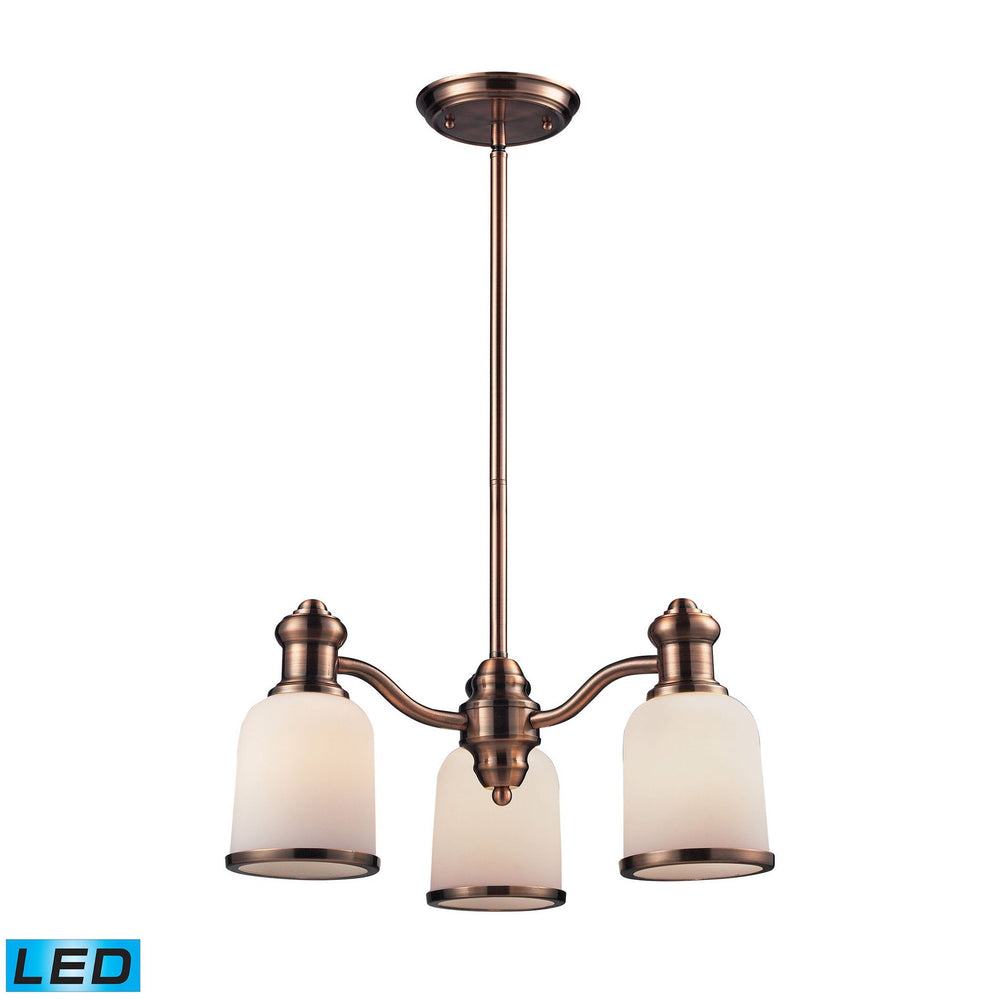 Elk 66182-3 Brooksdale 3 Light Chandelier In Antique Copper & White Glass