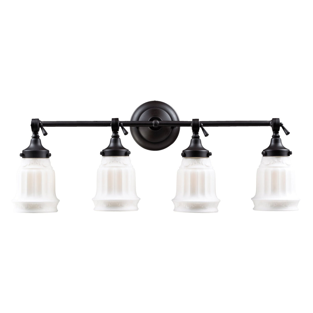 Elk 66214-4 Quinton Parlor 4 Light Vanity In Oiled Bronze & White Glass