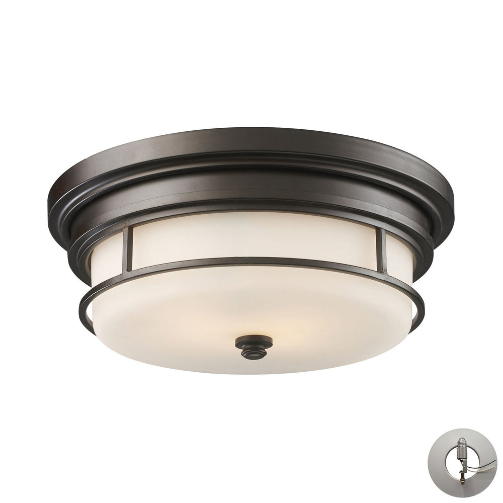 Elk 66254-2-LA Newfield 2 Light Flushmount In Oiled Bronze - Includes Recessed Lighting Kit