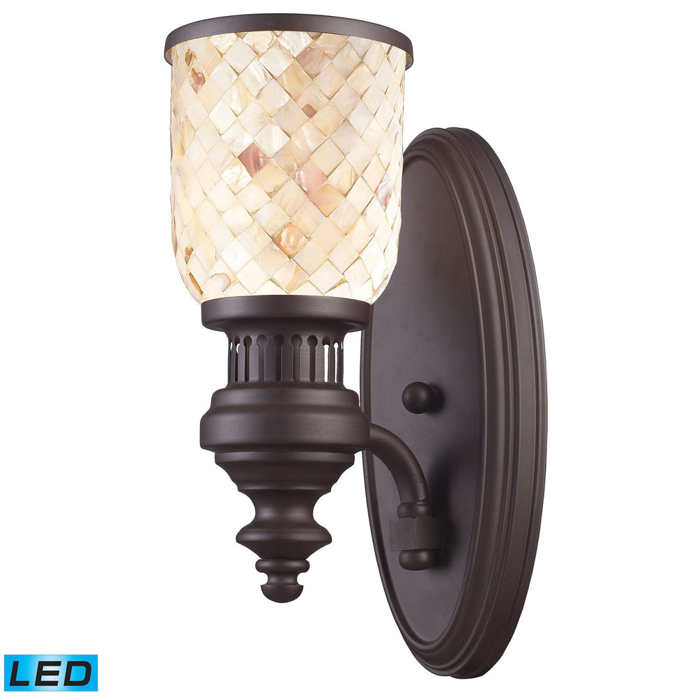 Elk 66430-1 Chadwick 1 Light Wall Sconce In Oiled Bronze & Cappa Shells