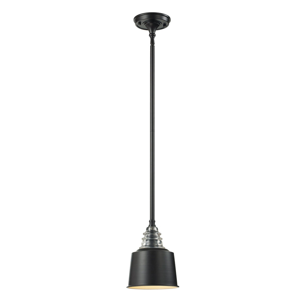 Elk 66818-1 Insulator Glass 1 Light Pendant In Oiled Bronze