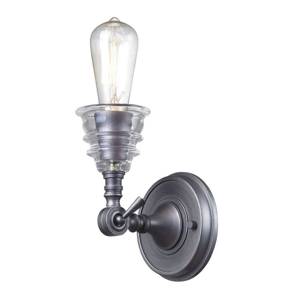 Elk 66820-1 Insulator Glass 1 Light Wall Sconce In Weathered Zinc