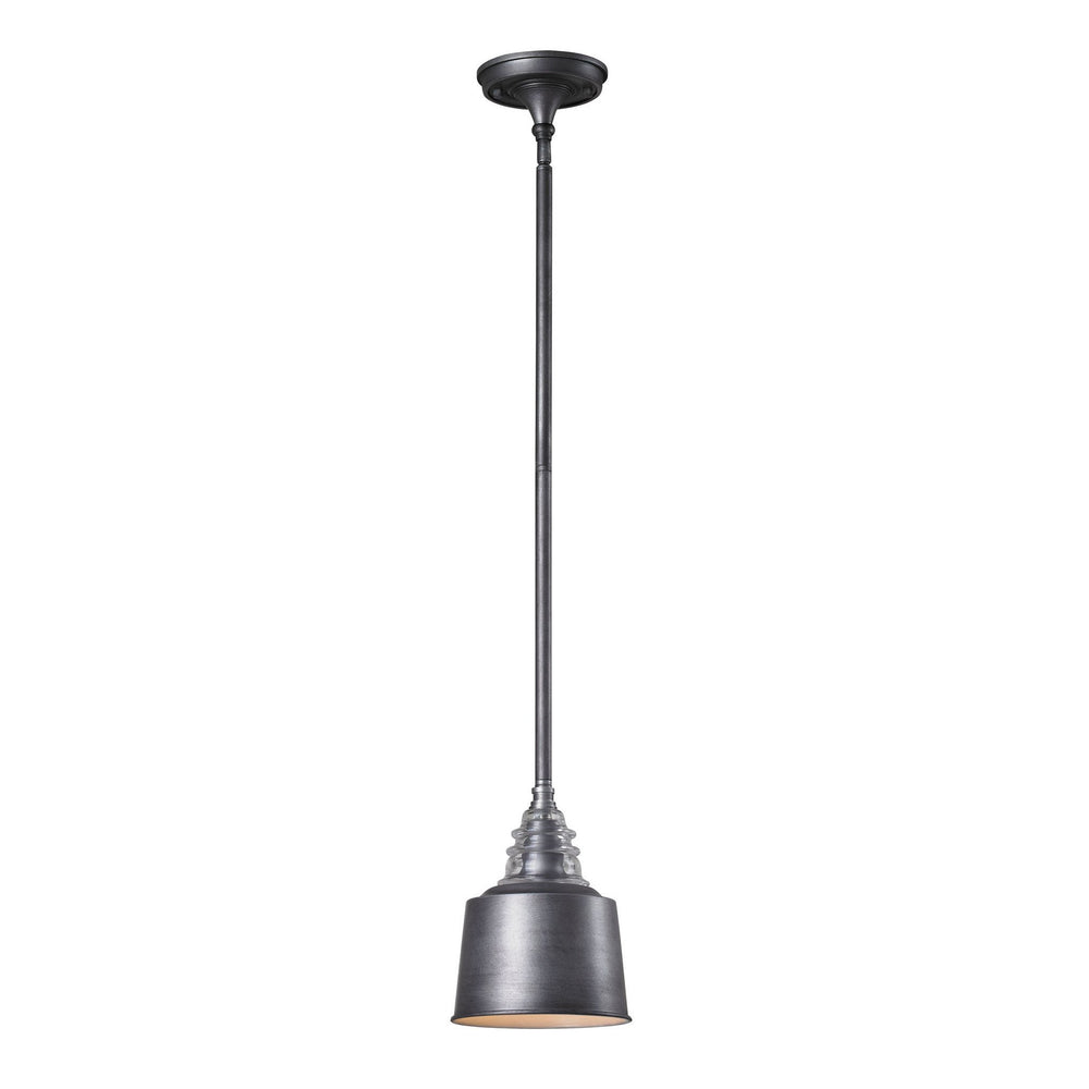 Elk 66828-1 Insulator Glass 1 Light Pendant In Weathered Zinc