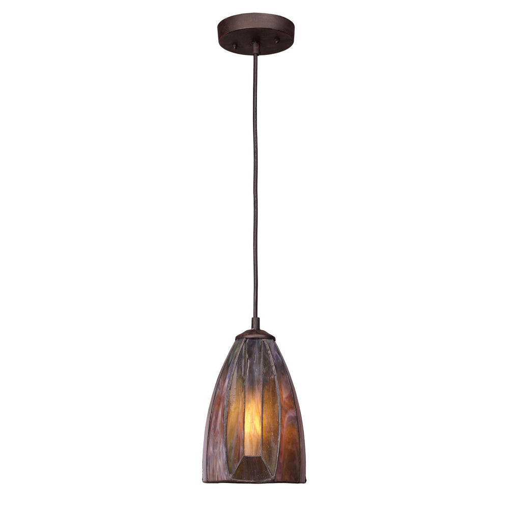 Elk 70046-1 Dimensions 1 Light Pendant In Burnished Copper & Tea Stained Glass