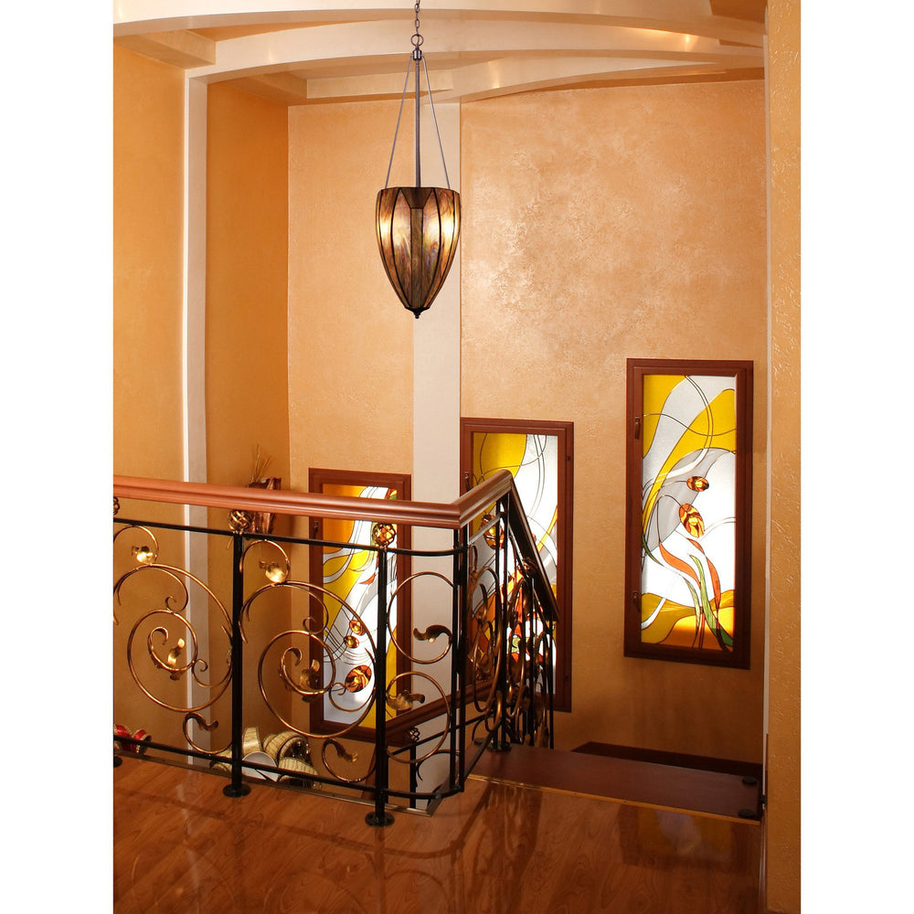 Elk 70048-4 Dimensions 4 Light Pendant In Burnished Copper & Tea Stained Glass