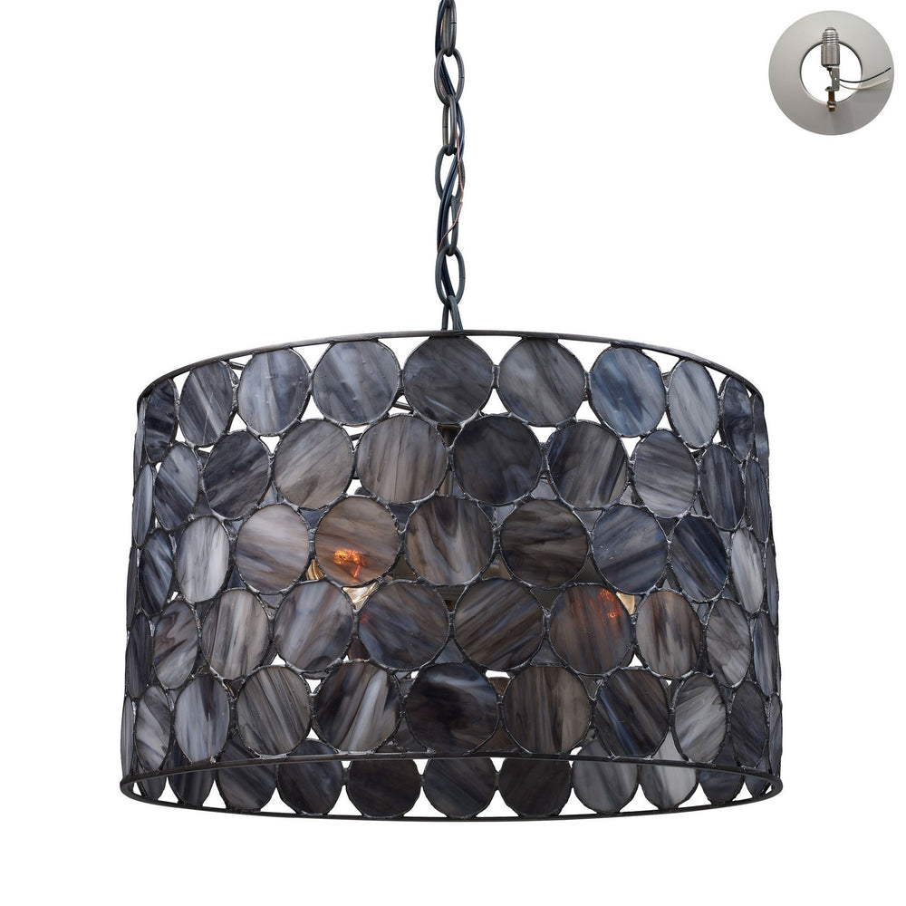 Elk 72003-3-LA Cirque 3 Light Pendant In Matte Black & Tiffany Glass - Includes Recessed Lighting Kit