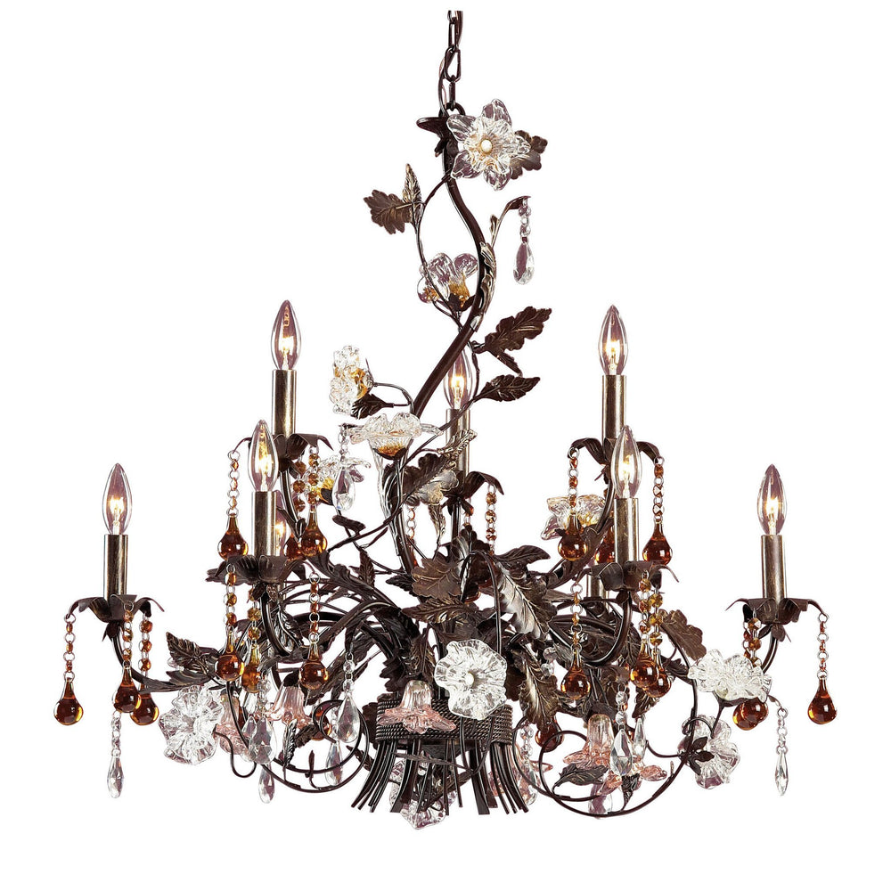 Elk 85003 Cristallo Fiore 9 Light Chandelier In Deep Rust With Crystal Florets