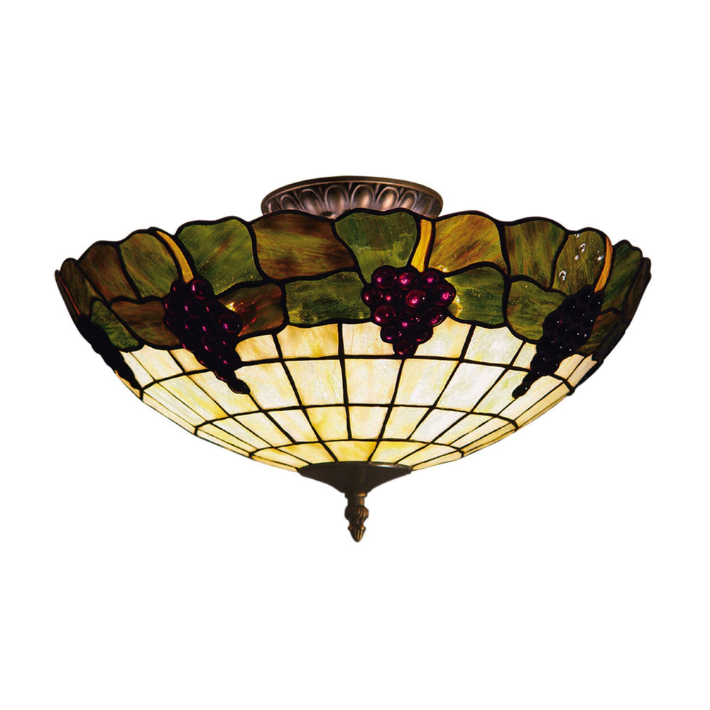 Elk 931-VA Grapevine 3 Light Semi Flush In Vintage Antique With Stained Glass