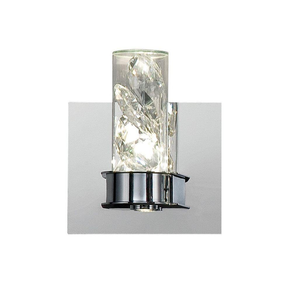 Eurofase 28114-017 York Crystal Drops 2 LED Wall Sconce, Clear Glass Cylinders, Chrome Finish, 5.5 Inches Wide - Model