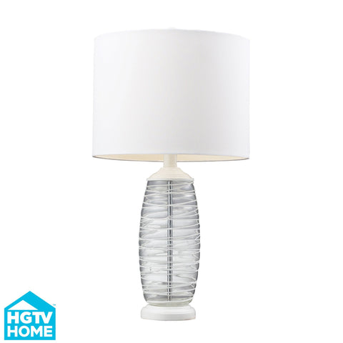 Hgtv125 Dimond Graphic Control Collection Hgtv Home Clear And White Blown Glass Table Lamp