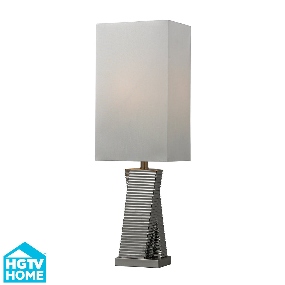 HGTV135 Dimond Graphic Control Collection HGTV Home Chrome Plated Ceramic Table Lamp