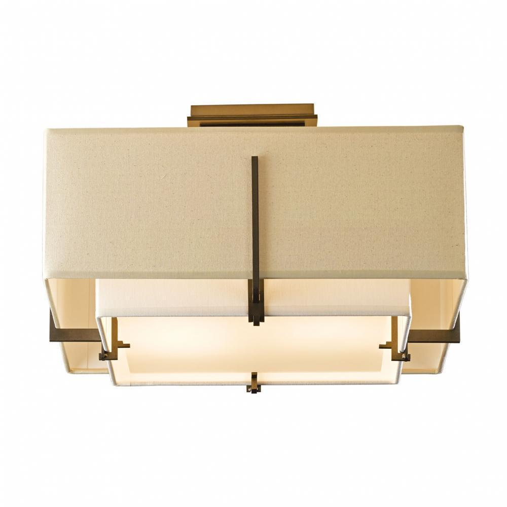 Hubbardton Forge Exos Square Small Double Shade Semi Flush Model: 126507-SKT-10-SA1205-SF1605