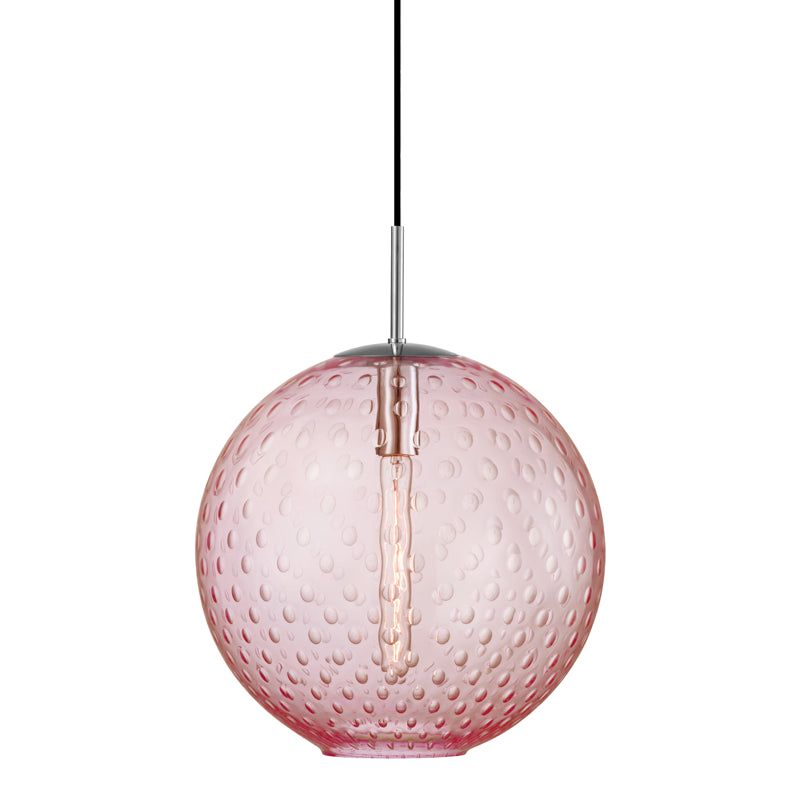 Hudson Valley Rousseau 1 Light Pendant Pink Glass Model: 2015-AGB-PK