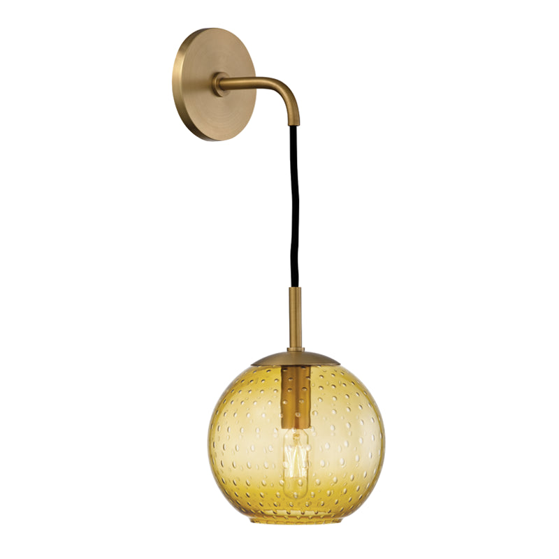 Hudson Valley Rousseau 1 Light Wall Sconce Light Amber Glass Model: 2020-AGB-LA