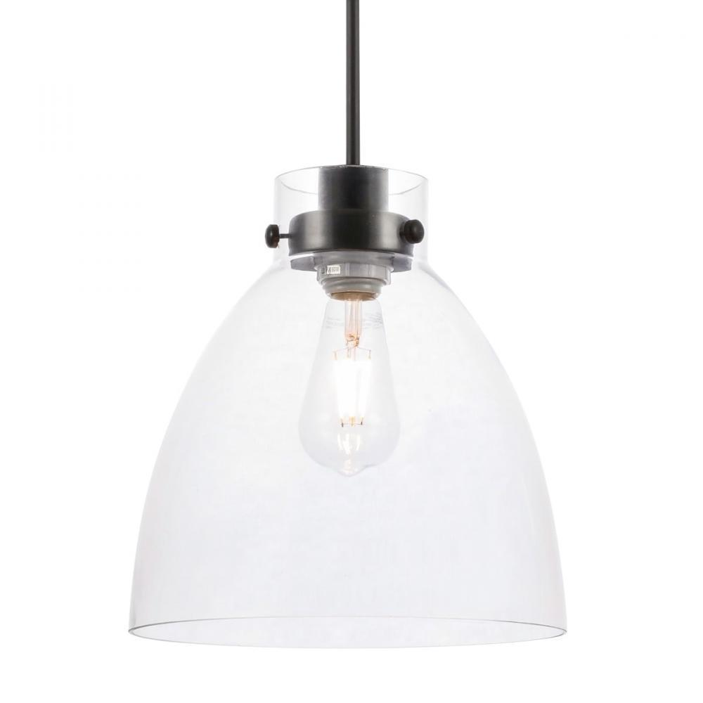 Living District 8 Light Frey 1 Light Black And Clear Glass Pendant Model: LD5029D11BK