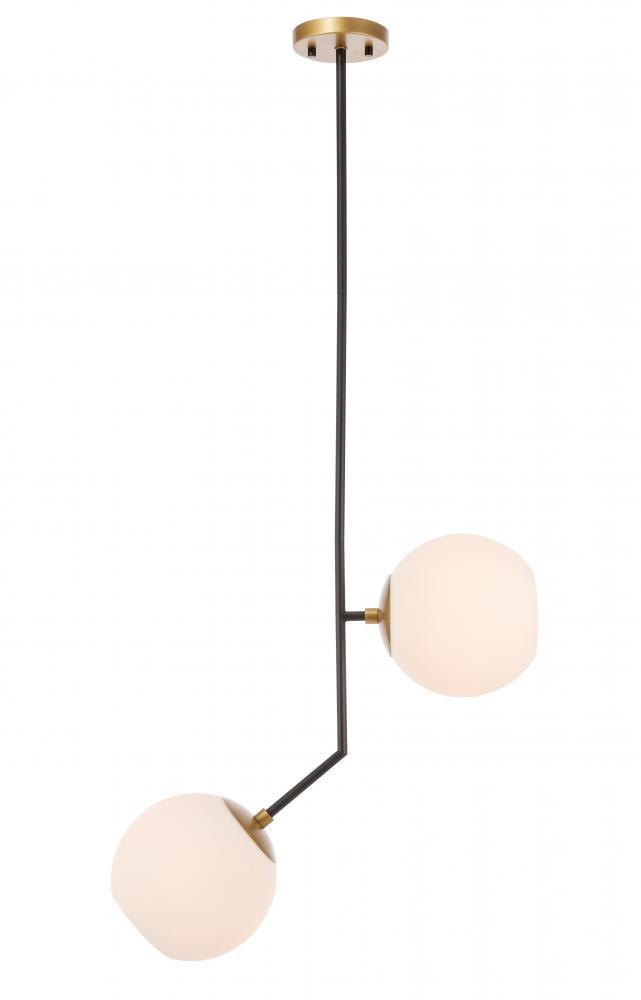 Living District Ryland 2 Light Black And Brass And Frosted Model: LD8050D8BK