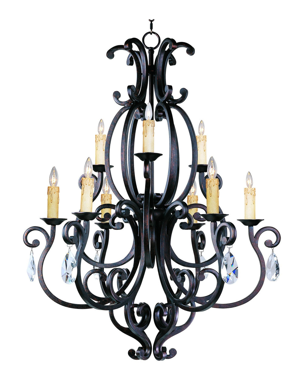 Maxim CRY08331006CU/ Richmond 9-Light Chandelier with Crystals & Shades