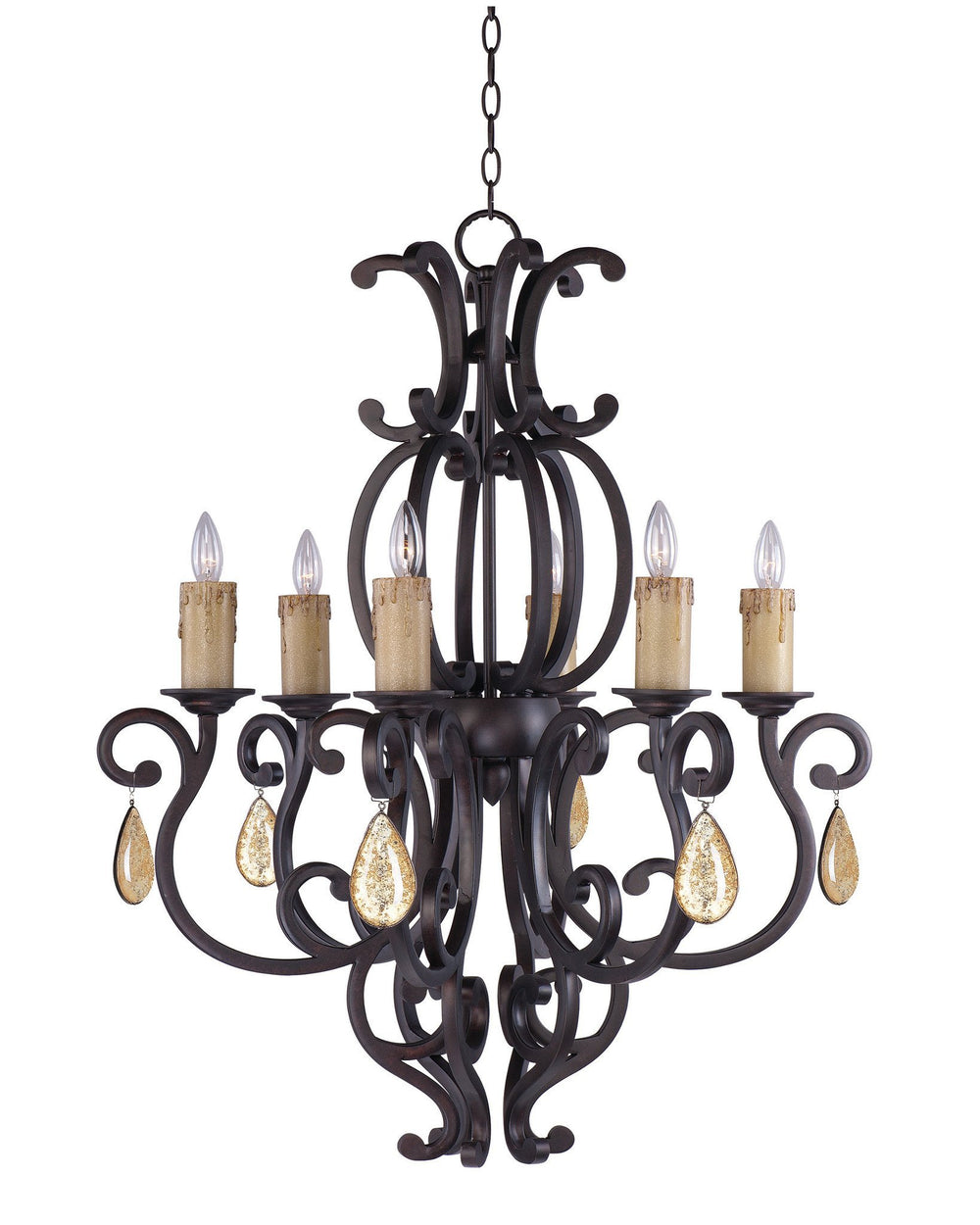 Maxim CRY09431005CU/ Richmond 6-Light Chandelier with Crystals & Shades