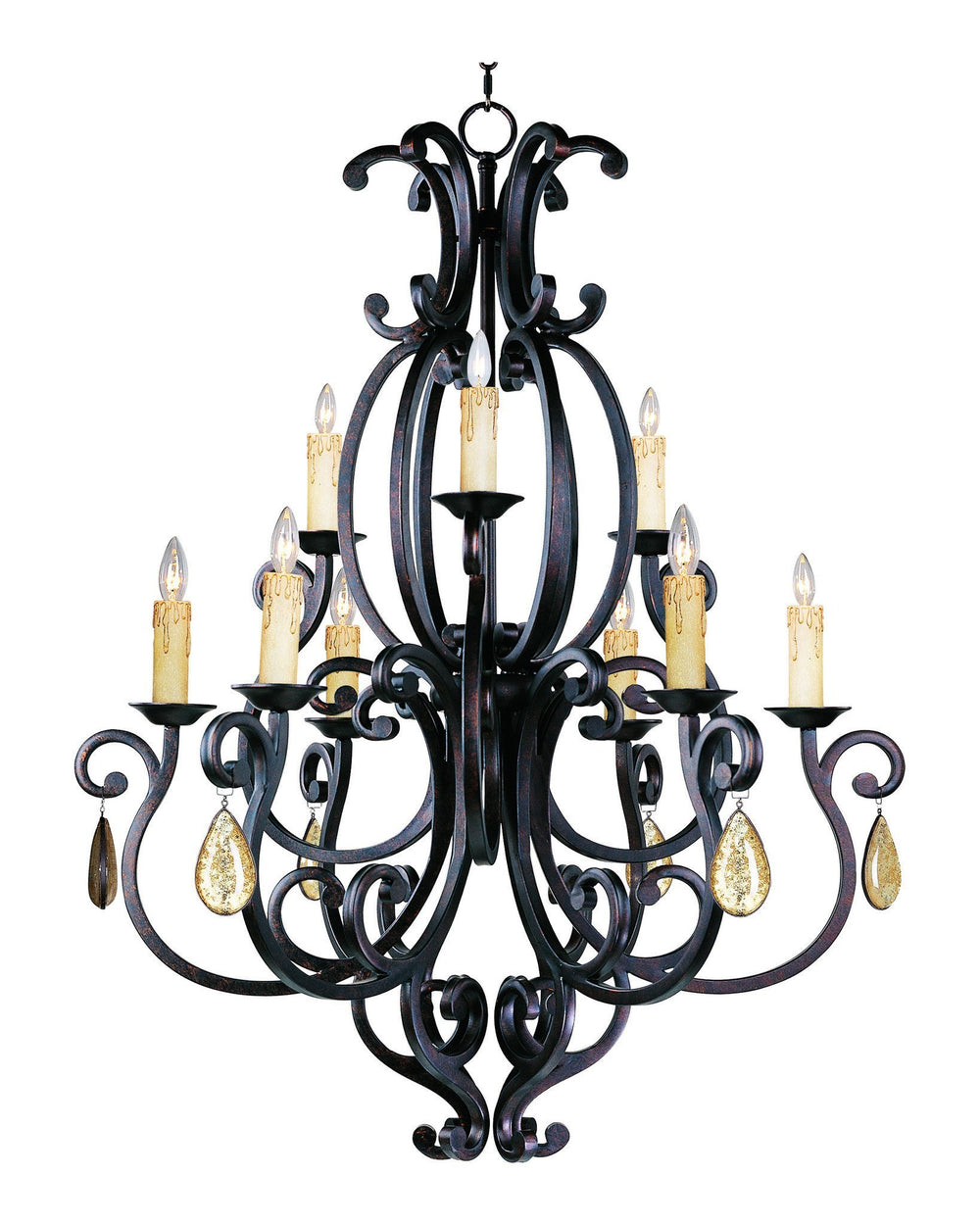 Maxim CRY09431006CU/ Richmond 9-Light Chandelier with Crystals & Shades