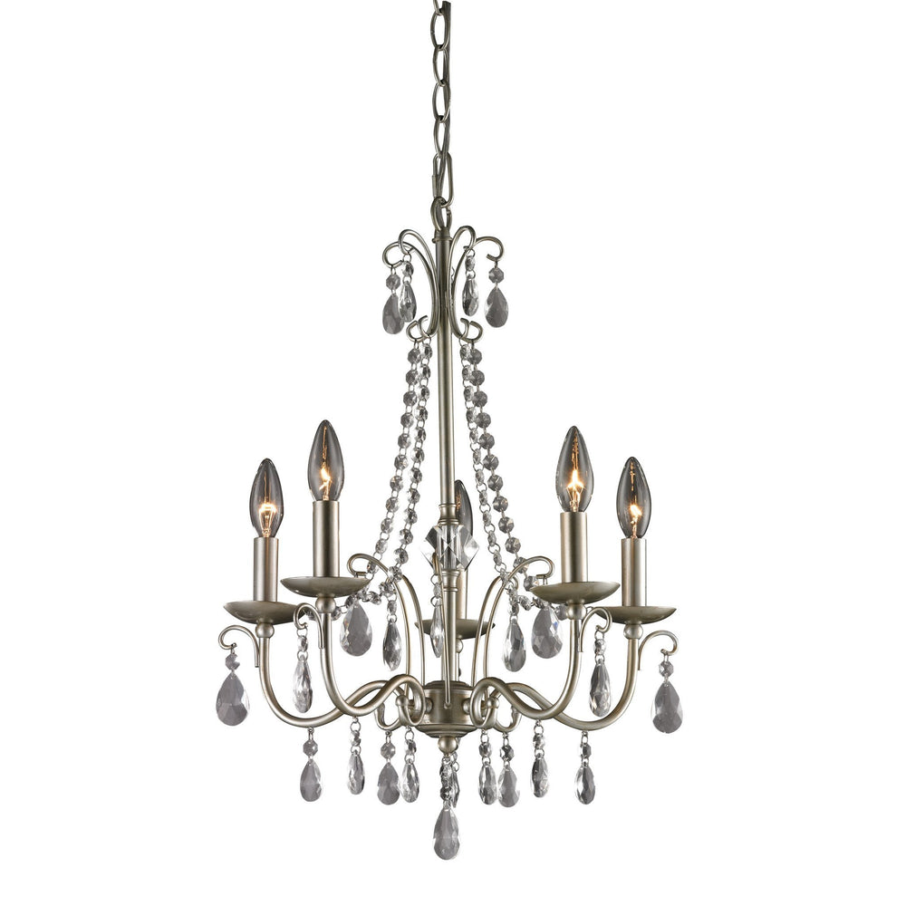 Sterling 122-0120 Antique Silver Chandelier In Silver / Clear