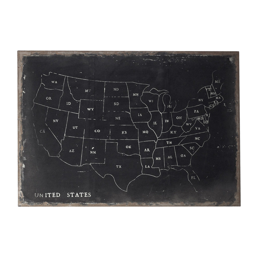 Sterling 51-100063 Chalk Outline Map Of Usa On Black Canvass