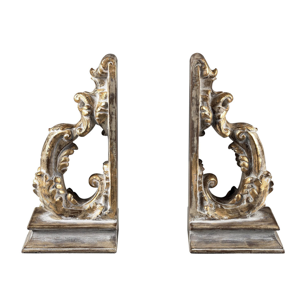 Sterling Florintine Scroll Bookends